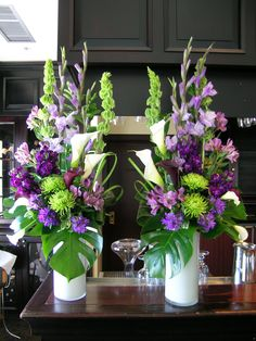 Purple Wedding Flowers Purple and green wedding flowers at Capilano Golf Club Altar Flowers, Church Flowers, Funeral Flowers, Purple And Green Wedding, Purple Wedding Flowers, Green Flowers, Green Hydrangea, Purple Flower Arrangements, Wedding Flower Arrangements