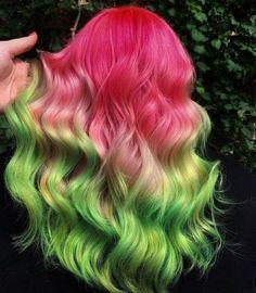 Green Hair Ombre, Green Hair Colors, Hair Dye Colors, Ombre Hair Color, Cool Hair Color, Pink Hair, Blue Hair, Green Hair Streaks, Hair Dye Brands
