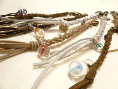 handmade leather key chain with glass mushroom