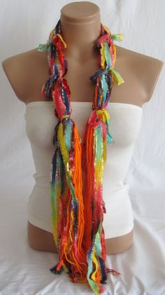 Fringe Scarf Knotted Scarf from Arzus on Etsy. Saved to Things I want as gifts. No Sew Scarf, Scarf Knots, Tassel Necklace, Crochet Necklace, Neck Accessories, Fringe Scarf, Fabric Art, Scarves, Skinny