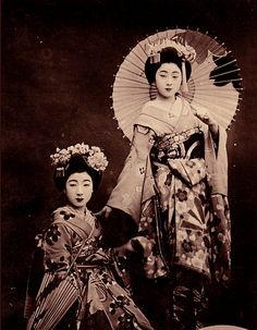 Two Young Maiko (apprentice geisha) Posing 1920's -1930's