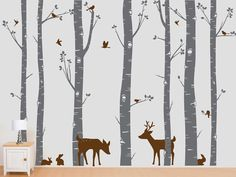 Birch Trees Vinyl Decal, Birch Trees, Birch Forest, Birch Tree Wall Decal with Deer and Bunnies for Birch Nursery, Kids or Childrens Room