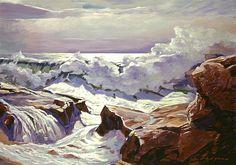 """crashing waves on the Monterey coast"". Title: The Roar Of The Surf. Artist: David Lloyd Glover Medium: #Painting - Acrylic On Canvas Panel"