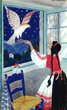Finist, de wakkere valk - naverteld door Antoon Coolen, Groot Margriet sprookjesboek (1958). Ill. Nans (Nandy) van Leeuwen