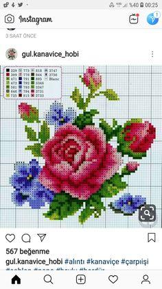 Cross Stitch Heart, Cross Stitch Flowers, Cross Stitch Embroidery, Cross Stitch Patterns, Knitting Stitches, Vintage Flowers, Pattern Design, Needlework, Sewing