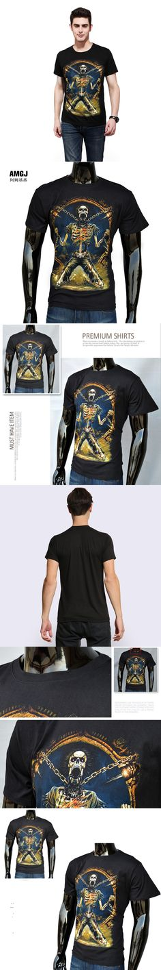 Cool Style 3D Print Hell Skull Men T Shirt The Punisher Black Short Sleeve T-shirt Men Clothing Top Tees For Summer