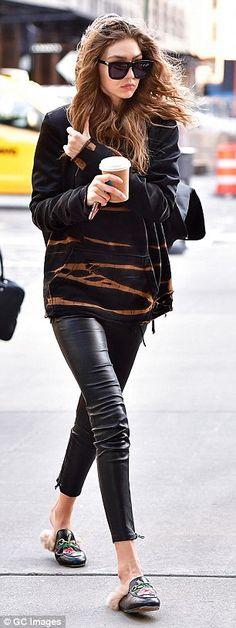 'It' girls: Gigi Hadid, 21, sported furry Gucci slides as she ran errands in New York City