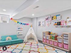 life update, home tour, playroom, home decor Playroom Seating, Garage Playroom, Ikea Playroom, Toddler Playroom, Playroom Organization, Playroom Design, Little Girls Playroom, Colorful Playroom, Playroom Colors