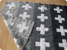 Very modern retro granny square in grey ombre and swiss cross.