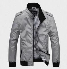 Men's Casual Jacket-Blue/Black/Grey