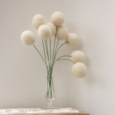 Wool Flowers, felt Craspedia Billy Button Ball Bloom snow white home decor wedding bride bouquet handmade housewarming gift large. $40.00, via Etsy.