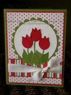 Stampin' Up!  Bird Punch  Tulips