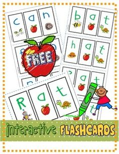 "*FREE* Interactive Flashcards - includes vocabulary picture cards, ""write and wipe"" cards, and B/W version. Laminate for multiple use, or print and trim (4 per page) for centers work. Reinforce letter/sound correlations while practicing segmenting and blending sounds. Common Core standards (RF.K.2d; RF.K.3a)  FILE INCLUDES: - mini interactive flashcards - vocabulary picture cards - ""write and wipe"" picture cards - Sentence Template: 4 Cards - B/W Cards"