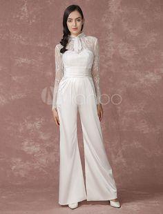 Spitze Hochzeit Overalls lange Ärmel Braut Hochzeit Hose zurück Illusion  Satin a-Linie Culottes Brautkleid 237a6a2c57