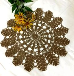 Hey, I found this really awesome Etsy listing at https://www.etsy.com/il-en/listing/450540732/brown-crochet-lace-doily-new-modern