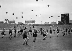 UNKNOWN, CHELSEA FC PRE-SEASON TRAINING SESSION AT STAMFORD BRIDGE JULY 1955: reminds me of andrea galvani's photographs but happier!