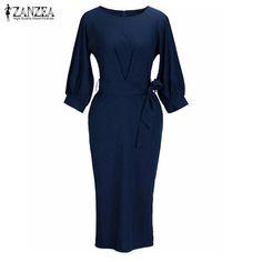 Hot Sale $10.77, Buy ZANZEA Fashion 2017 Summer Fashion Womens Elegant Work Dress OL Style Casual Slim Knee Length Tunic Dresses Vestidos Plus Size