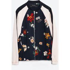 Zara Printed Bomber Jacket (€62) via Polyvore featuring outerwear, jackets, navy blue, navy jacket, zara jacket, blouson jacket, lined jacket and bomber jacket