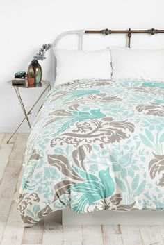 Cute bedding  Teal and Gray!  I like the softer color teal