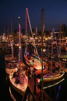 Lighted Boat Parade, Santa Cruz Harbor, California Photo by Clayton Mansnerus Pacific Coast Highway, California Dreamin', Northern California, Newport Beach, Santa Monica, Big Sur, Boat Lights, Night Lights, Boat Parade
