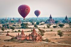 Balloons over Trees in Bagan, Myanmar