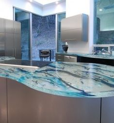 Art glass kitchen countertop