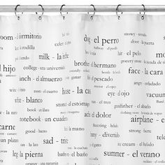 Trying to find a cute shower curtain for my teen's bathroom. This is one of her top picks -- Spanish vocabulary words. #shower #curtain #Spanish