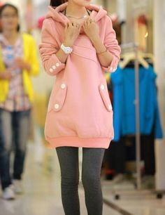 Wholesale Ladylike Style Long Sleeves Button Decoration Hooded Solid Color Coat For Women (AS THE PICTURE,ONE SIZE), Jackets & Coats - Rosewholesale.com