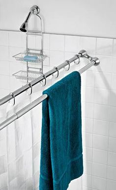 duo shower rod - Awesome use of space in a tiny bathroom! Or any bathroom, towels always seem to end up on the shower curtain rod Shower Curtain Rods, Shower Rods, Shower Curtains, Small Bathroom Storage, Small Bathrooms, Small Kitchens, Bathroom Renos, Master Bathroom, Bathroom Ideas