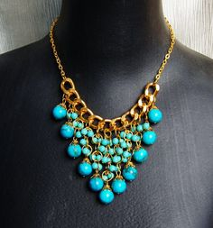 turquoise blue bubble statement necklace,holiday party,birthday,bridesmaid gift,bubble necklace,beaded jewelry with chain. $24.00, via Etsy.