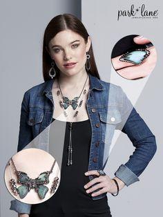 Dress up a jean jacket with Papillon! #parklanejewelry #fallfashion