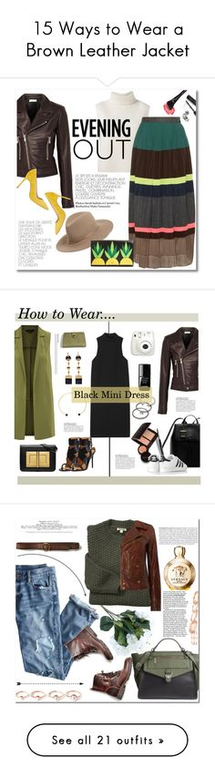 """15 Ways to Wear a Brown Leather Jacket"" by polyvore-editorial ❤ liked on Polyvore featuring waystowear, brownleatherjacket, Janessa Leone, Étoile Isabel Marant, Kolor, Balenciaga, Manolo Blahnik, Kate Spade, Bobbi Brown Cosmetics and Rosetta Getty"