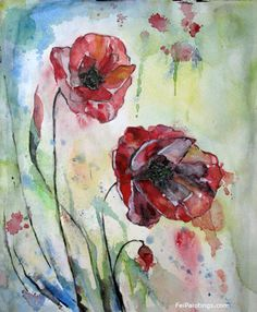 Poppy Watercolor Painting