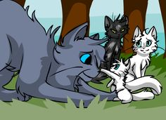 Bluefur and Whitekit, who'd grow up to be Bluestar and Whitestorm. Then there's Thistleclaw and Snowfur; it's still hard for me to imagine that Thistleclaw was Whitestorm's father, lol.Thistleclaw is kind of mean actually really mean