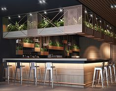 modern and sleek bar design with indoor plants and metallic and steel finishes Bar Interior Design, Restaurant Interior Design, Cafe Interior, Cafe Design, Restaurant Concept, Modern Restaurant, Coffee Bar Design, Modern Cafe, Industrial Cafe