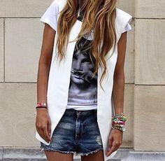 Colete branco super trendy**