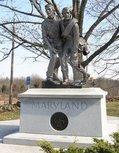 The State of Maryland monument is south of Gettysburg on the Emmitsburg road near the old Cyclorama building