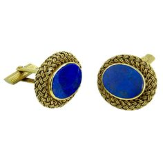 Exquisite Oval Lapis Lazuli Braided Gold Cufflinks c1960s | From a unique collection of vintage cufflinks at https://www.1stdibs.com/jewelry/cufflinks/cufflinks/