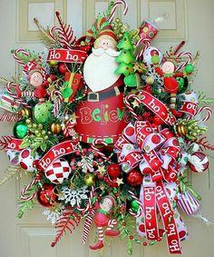 Whimsical Christmas Wreath Christmas Wreath by RedWithEnvyDesigns Vintage Christmas Card Christmas Love! Holiday Wreaths, Holiday Crafts, Holiday Fun, Christmas Decorations, Winter Wreaths, Holiday Ideas, Table Decorations, Christmas Love, All Things Christmas