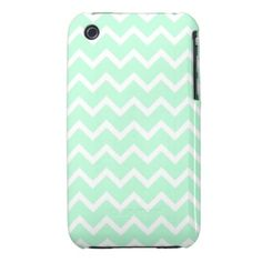 Mint Green Zigzag Stripes. iPhone 3 Cover