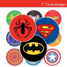 Marvel Superhero Logos 30 - 2 Inch CupCake Toppers - Digital Collage Sheet - Stickers, Treat Bags & More - INSTANT DOWNLOAD
