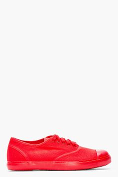 21fdb664dd16 CHRISTIAN PEAU Red Canvas Low-Top Sneakers