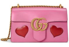 GG Marmont Medium Heart Shoulder Bag by Gucci. Gucci shiny leather shoulder bag with embedded red hearts. Sliding chain strap can be doubl. Pink Shoulder Bags, Gucci Shoulder Bag, Chain Shoulder Bag, Shoulder Handbags, Leather Shoulder Bag, Pink Handbags, Gucci Handbags, Luxury Handbags, Purses And Handbags