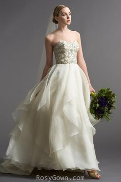 Ivory Layered Organza A-line Bridal Gown with Strapless Sweetheart Neckline