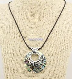 45mm-round-natural-Abalone-paua-shell-handmade-Alloy-flower-pendant-necklace-18-034