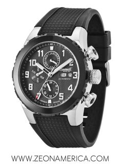 """Check out this fresh and sporty watch called the """"Gun"""" from Ingersoll Watches USA! With patterned back round dial and bezel in black you can bring back the new black on black as the new trend! Fashion Watches, Watches Usa, Ingersoll Watches, Sporty Watch, New Trends, Bring It On, Gun, Fresh, Accessories"""