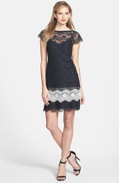 Jessica Simpson Short Sleeve Tiered Lace Dress