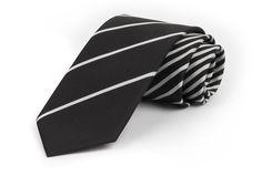 Schmale Krawatte mit feinen Streifen in weiß und schwarz - etado.de | Firmen-Krawatten