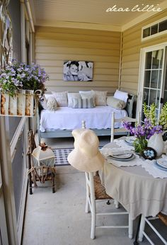 Dear Lillie: Some Color on the Porch Part I, and our Love Is Pillow Covers in White  *************  I WANT A PORCH...bj
