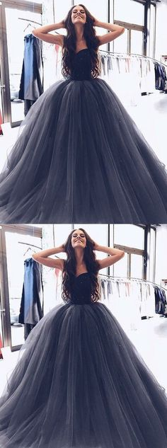 Gorgeous Ball Gown Evening Dress,Sweetheart Long Prom Dress,Cheap Prom #prom #dresses #promdress #homecomingdresses #partydresses #2018promdresses #cheapdress #longpromdress #formaldress #eveninggowns #black #ballgown